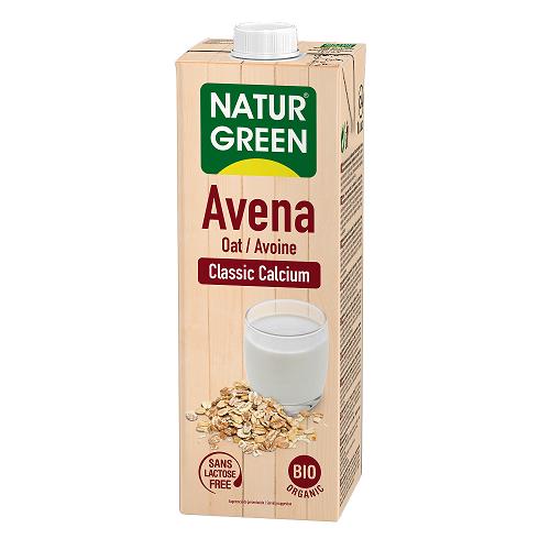 Lapte Vegetal 100% din Ovaz cu Calciu Marin Neindulcit, Ecologica BIO NaturGreen – cutie 1 L.