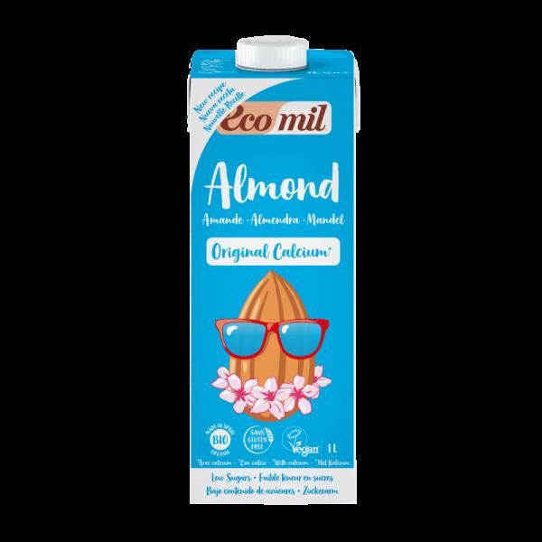 Lapte din Migdale cu Calciu Marin Organic indulcit cu Agave BIO EcoMil - Cutie 1000ml. Poza 6608